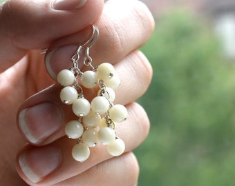 White Coral Earrings . Long White Earrings . Coral Dangle Earrings . White Cluster Earrings . Long Dangle Earrings - Taurus Collection