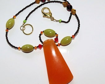 Jade Pendant Necklace, Orange Mellon Jade, Chartreuse Jade, Ladies Fall Jewelry, 20 inch Ladies Necklace