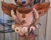 Folk Art Nostalgic Vintage Angel Chihuahua Dog  Doll Handmade