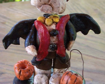 Folk Art Halloween Candy Container French Bulldog Bat OOak Whimsical Nodder