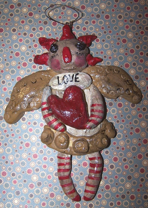 Folk Art Raggedy Ann Angel Doll Ornament Ornie Ooak