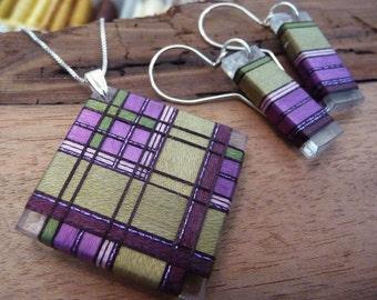 Thread Wrapped Jewelry Set Green and Purple Tartan Plaid