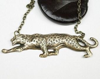 Antiqued brass Leopard Necklace, Leopard necklace, Cheetah necklace, antiqued brass cheetah necklace, leopard pendant, animal necklace