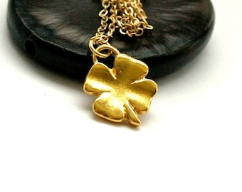 Small Four Leaf Clover charm Necklace Gold plated brass on a delicate gold plated chain