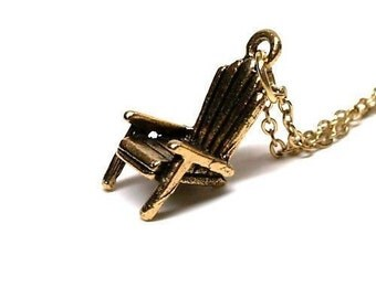Small Adirondack Chair charm Necklace 3D gold plated pewter on a delicate gold plated chain