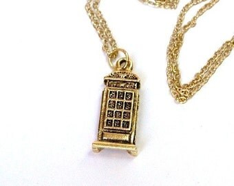 Small gold plated pewter Telephone booth charm Necklace on a delicate gold plated chain