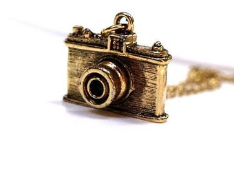 Small gold plated pewter Camera charm Necklace on a delicate gold plated chain