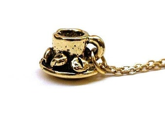 Small Coffee Cup Charm Necklace gold plated pewter on a delicate gold plated chain