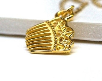 Tiny Small gold plated brass Hair Comb charm Necklace on a delicate gold plated chain