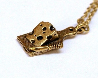 Cheeseboard Knife charm Necklace Small Gold plated Pewter Cheese on a delicate gold plated chain