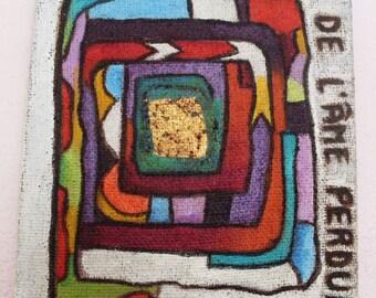 Original French Fine ART PAINTING on Burlap Canvas, Signed, Mixed Media, by Yael Bolender