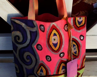Little SHOPPER BAG, Tote BAG Pink, Purple Handpainted, Sewn Sequins by Yael Bolender