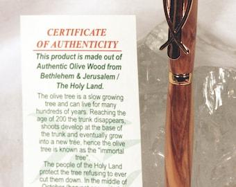 Handmade Authentic Bethlehem Olivewood Christian Fish Slimline Style Pen