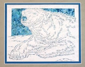 Polar Bear Papercutting- Handcut Original, Watercolor