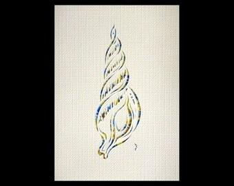 Triton shell Papercut ACEO, Handcut Original, Watercolor
