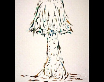 Handmade papercut ACEO- Mushroom