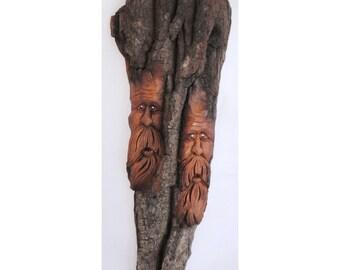 Handcarved Cottonwood Woodspirit Twins 2011-73