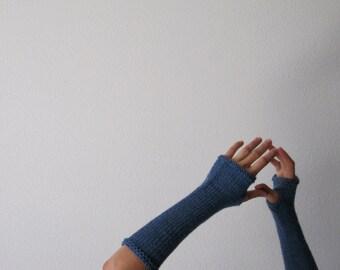 SKY Woolen Fingerless Gloves / Arm  Warmers - hand knit in pure wool in light heathered blue - women's winter accessories