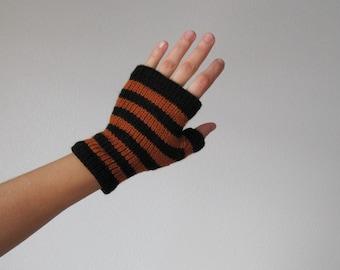 PUMPKIN and COAL Striped Hand Knit Merino Wool Glovelets - Fingerless Gloves in Coal Black and Pumpkin Orange - Halloween, Fall, Women