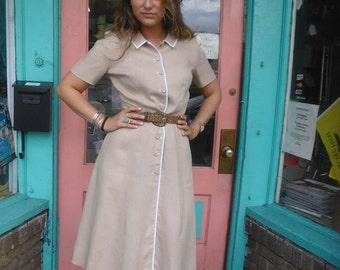 Vintage Swing Dress Smashing Sporty Look 1940s or 50s Irish Linen McMullen Label 38 bust FREE U S SHIPPING
