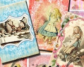 Alice in Wonderland Vintage Commercial Use ACEOs ATC Tags Scrapbook Embellishments Digital Download Collage Sheet No. 26
