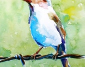 original painting of a little bird on a wire fence