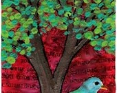 Lonely Bird ACEO - a Miniature Mixed Media Painting - Original Art Card