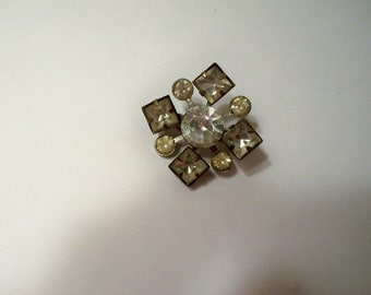 Rhinestone Brooch with Squares & Circles of Prong Set Vintage Rhinestones