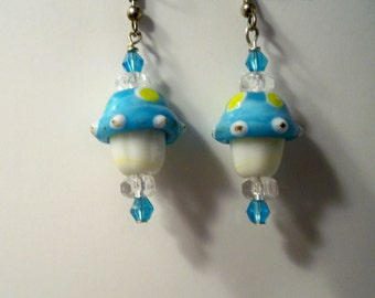 Mushroom Earrings, Cupcake Earrings, Blue & White Earrings, Blue Mushroom / Cupcake Glass Beads  also Available in a Variety of Colors