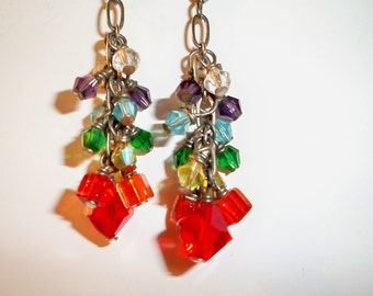 Crystal Chakra Earrings with Crystal Bead Dangles on Silver Chain