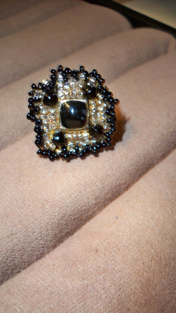Black & Gold Ring Handmade Ring with Beaded Vintage Jewelry on Adjustable Gold Band
