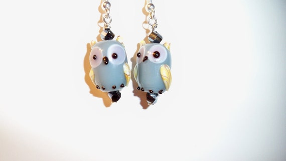 Owl Earrings from Finely Detailed Lamp Work Glass Beads with Crystal Bead Accents