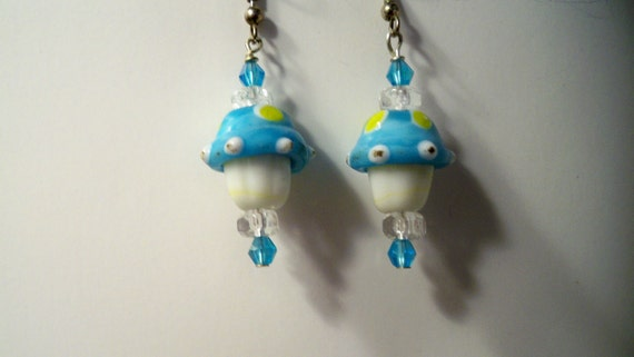 Mushroom Earrings with Blue Lampwork Glass Beads  also Available in a Variety of Colors
