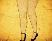 Big Legs -NYC Graffiti Photography of Voluptuous Yellow Legs with High Heels -13 x 19 Fine Art Color Photography Print -NYC Urban Street Art