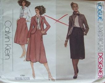 Vogue American Designer Pattern 1791 Calvin Klein 1970s Skirt Jacket Size 12