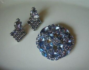 Vintage Rhinestone Jewelry Blue Rhinestone Brooch and Earring Set 1960s