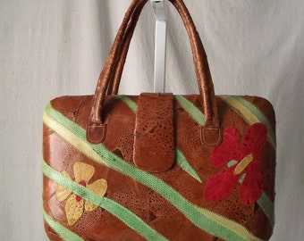 Vintage Leather Purse with Bold Tropical Flowers Frog Skin