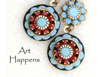 Southwest Splendor - southwest earrings, turquoise and coral crystal earrings, antiqued brass