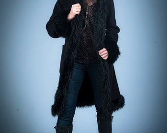 Black Faux Fur Urbaness Jacket with Hood