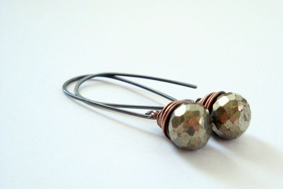 Pyrite, oxdized sterling silver, and antiqued brass dangle earrings - mixed metal fools gold briolette drops