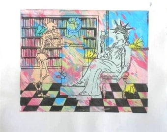 Dr. Atl and Lady Liberty - Original Silk Screen Print