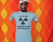 vintage 70s tee shirt caution RADIOTHERAPY technologist energy t-shirt Small champion blue bar x-ray science