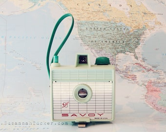 SALE Retro mint camera photo, wanderlust, pastel toned, vintage camera photo, pastel world map, quirky wall decor, whimsy - Take me with you
