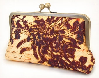 Clutch bag, silk-lined purse, flower silhouette, yellow, ochre, brown, bridesmaid gift, ON SALE