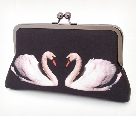 Clutch bag, silk purse, white swan, bridal bag, bridesmaid gift, TWO SWANS