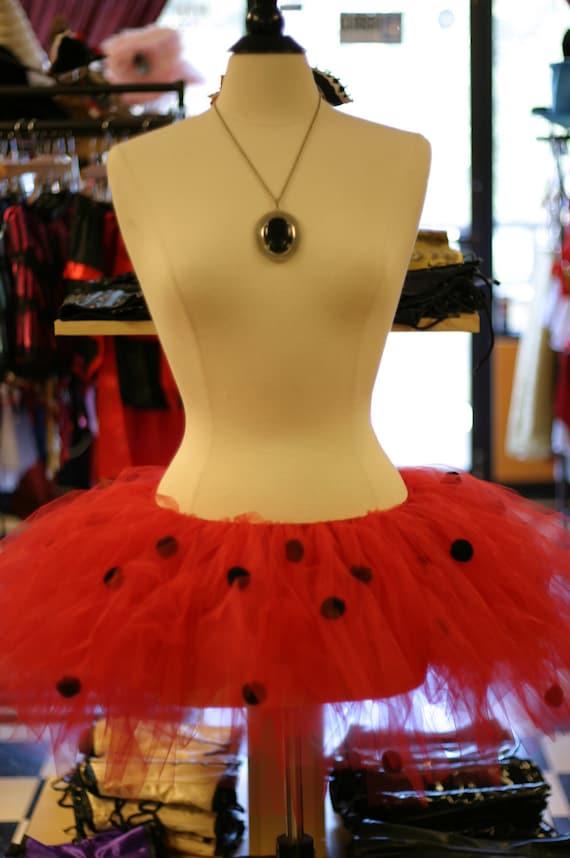 Ladybug Costume Tutu Red Crinoline with Black Polka Dots Adult Size Full and Fluffy