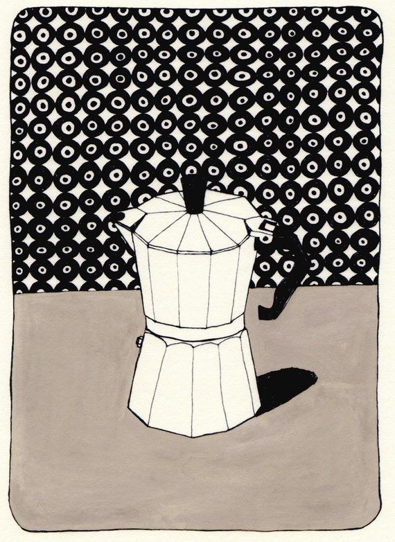 Coffee Pot with Wallpaper (Limited Edition Print)