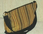 Green and gold striped dupioni silk handbag