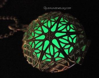 Green Glow in the Dark Silver Filigree Locket