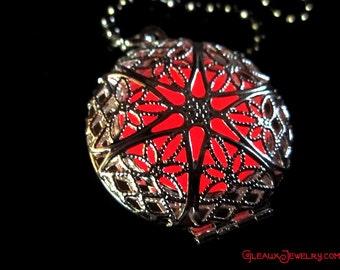 Fire Red Mystic Silver Glow Locket